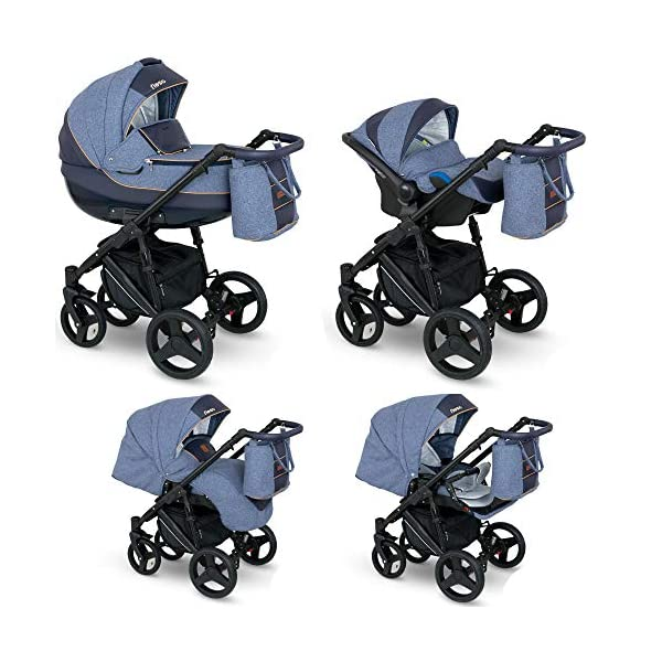 Lux4Kids Stroller Pram 2in1 3in1 Isofix Car seat 12 Colours Free Accessories NEO Blue Denim NE-2 4in1 car seat +Isofix Lux4Kids Lux4Kids Leo 3in1 or 2in1 pushchair. You have the choice whether you need a car seat (baby seat certified according to ECE R 44/04 or not). Of course the car is robust, safe and durable Certificate EN 1888:2004, you can also choose our Zoe with Isofix. The baby bath has not only ventilation windows for the summer but also a weather footmuff and a lockable rocker function. The push handle adapts to your size and not vice versa, the entire frame is made of a special aluminium alloy with a patented folding mechanism. 1