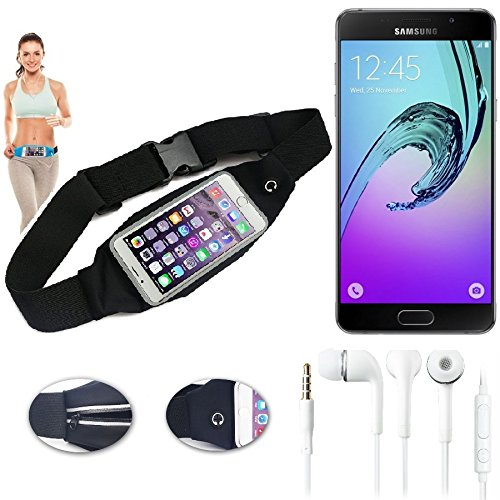 Preisvergleich Produktbild Bauchtasche Gürteltasche für Samsung Galaxy A5 (2017),  schwarz + Kopfhörer. Sport Running Jogging Fitness Laufen Umhängetasche Exercise Schutzhülle - K-S-Trade (TM)
