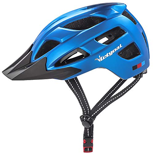 Victgoal Fahrradhelm Herren Damen mit abnehmbaren Visier Insektennetz gepolsterte Fahrradhelm Leichte Fahrradhelme Mountainbike Helm 57-61 cm (Blue)