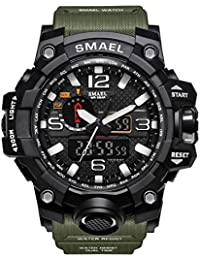 Man Digital Watch Fashion LED Military Sport Waterproof Luxury Casual Wristwatch (Army Green)