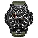 Reloj de Pulsera para Hombre de dial Doble Digital Reloj de Pulsera para Hombre de Negocios Militar Multifuncional Reloj analógico Resistente a Golpes S electrónico (Army Green)