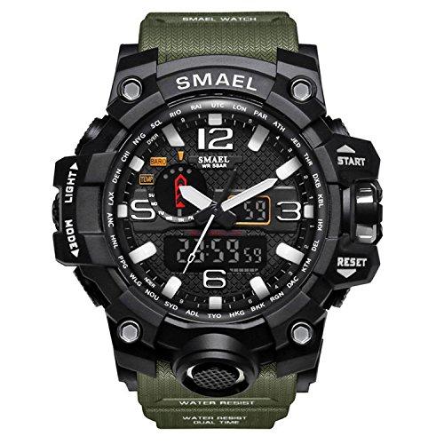 Reloj de pulsera para hombre de dial doble digital Reloj de pulsera para hombre de negocios militar multifuncional Reloj analógico resistente a golpes S electrónico (Ejercito Verde)