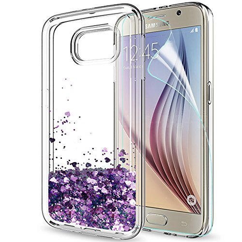 b3c0430719f LeYi Funda Samsung Galaxy S6 Silicona Purpurina Carcasa con HD Protectores  de Pantalla,Transparente Cristal