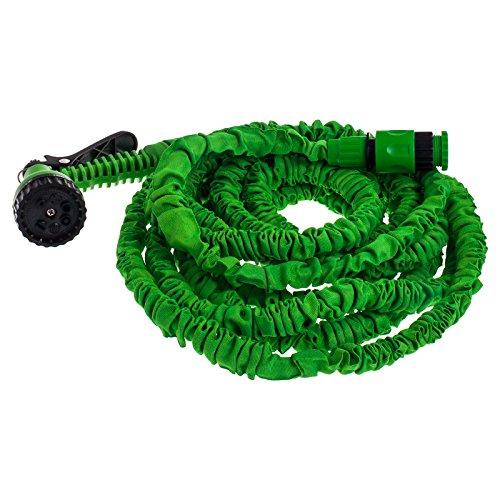 Smartfox flexibler Gartenschlauch Flexischlauch Wasserschlauch mit 45 m ausgedehnt inkl. Brause mit 7 Funktionen und 1/2u0022 Zoll Steck-System in Grün