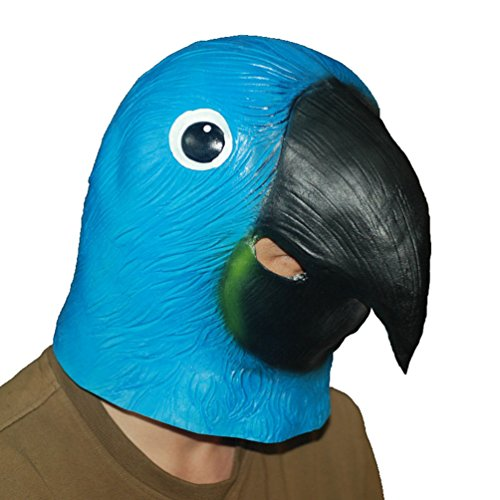 Jitong Halloween Latex Papagei Kopf Maske für Maskenball Cosplay Kostüm Schule Show (Papagei)