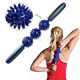 Muscle Roller Stick, Fascia and Cellulite Blaster Remover Muscle Roller, Massage Tool for Sore Tight Muscles, Cramps, Trigger Points, Knots, Top Massager for Calf, Legs, Back, Rehab, Lactic Acid Recovery Body Massager Balls Fat Blaster Stick Myofascial Release Tool Acupressure Therapy (dark blue)