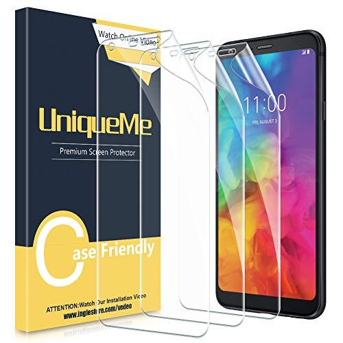 UniqueMe Kompatibel für LG Q7/LG Q7 Plus Schutzfolie, (3 Stück) Bildschirmschutzfolie [Premium Qualität] [Ultra Klar] [volle Abdeckung][ Einfache blasenfreie Installation] TPU Schutzfolie