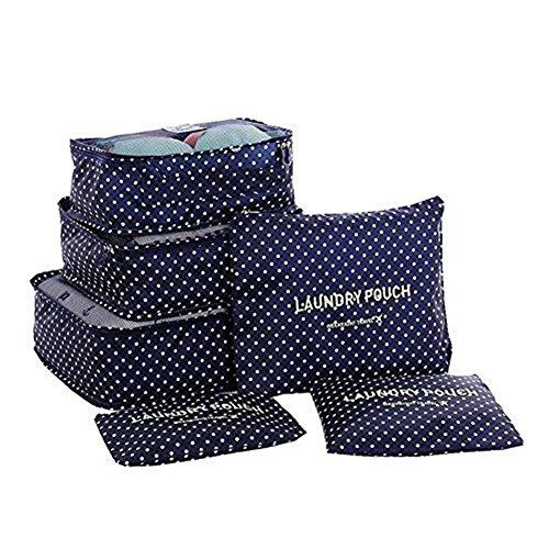 Fontic 6-teilig Robust Kleidertaschen Set Reisetasche aus Nylongewebe in Koffer Wäschebeutel Schuhbeutel Kosmetik Aufbewahrungstasche während der Reise Dunkel Blau