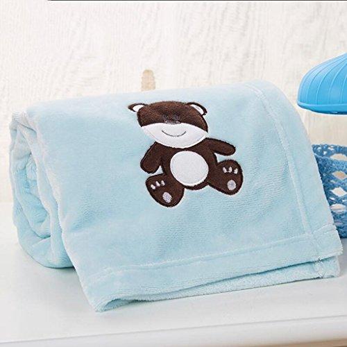 YAOHAOHAO Blaue Bär Muster babydecke Decke Polyester Material Winter Kindergarten Konzipiert für Baby (100*150cm)