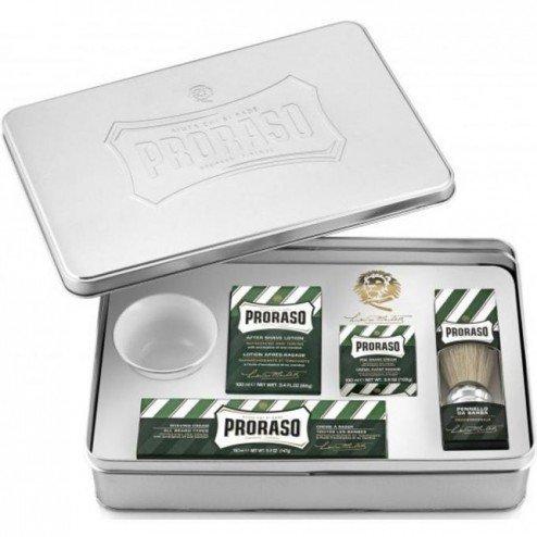 Proraso-Cofanetto completo Proraso Refresh con scatola metallo contiene: Crema prima Rasatura 100ml, Aftershave 100ml, crema da barba 150ml, sapone ciotola, pennello da barba