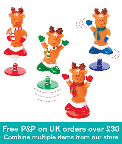 Baker Ross Reindeer Jump-Ups in 4 Assorted Designs. Perfect Christmas Stocking Filler & Idea for a Small Gift for Children (Pack of 4)