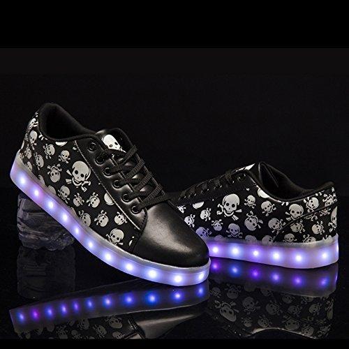 DoGeek Adulto Unisex Scarpe LED Luminosi Sneakers con Le Luci Accendono Scarpe Sportive Nero