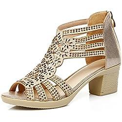 Damen Blockabsatz High Heels Sandaletten Plateau Pumps mit Schnalle Bequeme Reißverschluss Schuhe