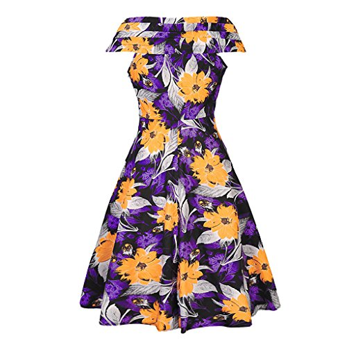 MNBS Femme Robes Vintage Classique 1950S Style Ourlet Imprimer Fleur V-cou Jaune