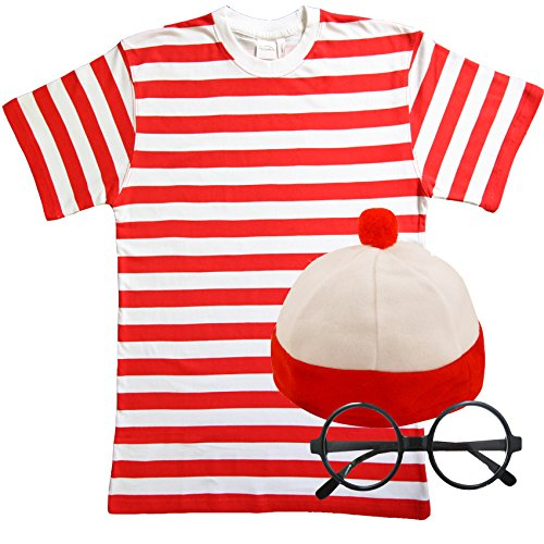 eiß Gestreift TShirt Hat & Gläser Fancy Kleid (Männer: Medium) (Wheres Wally Kostüm)