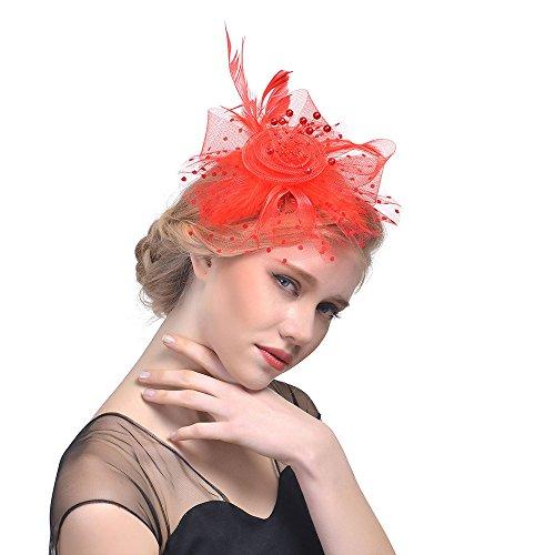 Sunday Elegante Fascinators Hut mit Feder Damen Blumen Mesh Hochzeit Fascinator Haarreif Cocktail Tee Party Haarnadeln Accessoires (Rot) (Roten Und Schwarzen Feder-boa)