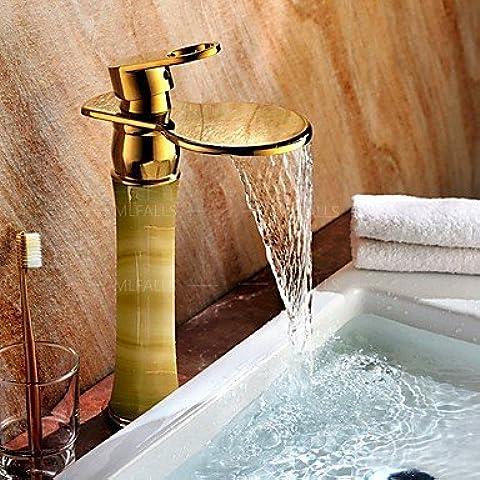 OUYANG Piedra de mármol blanco cascada aumentar baño de cobre y oro cobre gabinete lavabo baño vaso grifos grifos