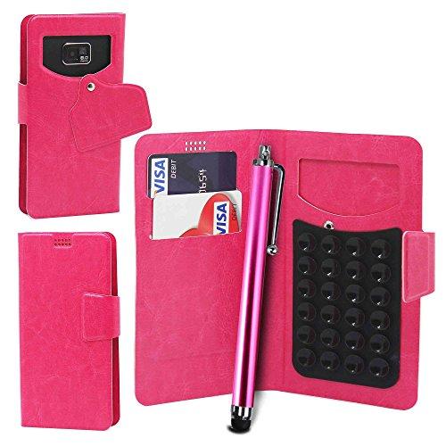 Téléphone portable ventouse Portefeuille + Stylet par Gadget Giant®, Cuir synthétique, blanc, XL rose
