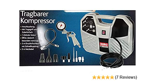 Duro Tragbarer Kompressor 8 bar inklusive Zubehörset Bar CQB180D-1 ölfrei