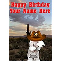 Bedlington Terrier Dog j782 Cowboy Sheriff Fun Cute Happy Birthday A5 Personalised Greeting card POSTED BY US GIFTS FOR ALL 2016 FROM DERBYSHIRE UK