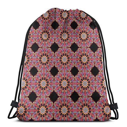 Black Widow Maxi Mandala_2142 Rucksack mit Kordelzug Rucksack Umhängetaschen Leichte Sporttasche für das Wandern am Strand von Yoga Gym Reisen