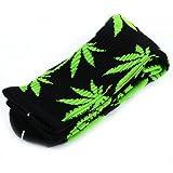 Marijuana Weed Leaf Men Women sport socks colourful Cotton High Socks BJF25-6black+green leaf