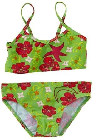 Playshoes Mädchen UV-Schutz nach Standard 801 und Oeko-Tex Standard 100 Bikini Hawaii in grün mit bunten Blumen 461024, Gr. 116, Grün(900 original)
