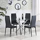minifair Tempered Glass Round Dining Table Set And 4 Black Faux Leather Chairs Chrome Leg Dining Table and Chairs set 4