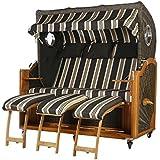 Teca playa cesta 3plazas Negro Rayas con 2Bull Ojos 170cm ancho ratán color marrón oscuro incluye equipo completo