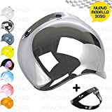 VRacing Visiera Casco 3 Bottoni Universale Casco jet e integrale Visiere Bubble a Bolla Custom retrò con meccanismo 3 altezze regolabile flip up incluso (Specchio Cromato)