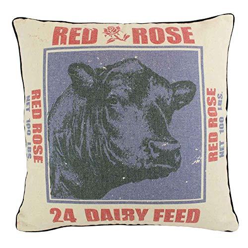 JuniperLab Shabby Chic Landhaus Primitives Grain Sack lila Kuh mit roter Rose Überwurf, Kissenbezug 40,6 cm, französischer Stil (Lila Shabby Chic Bettwäsche)