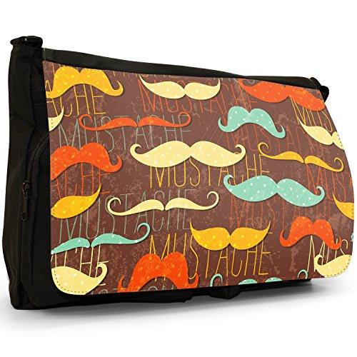 Trendy con baffi Hipster, motivo: baffi, colore: nero, Borsa Messenger-Borsa a tracolla in tela, borsa per Laptop, scuola Fun With Mustaches Moustaches