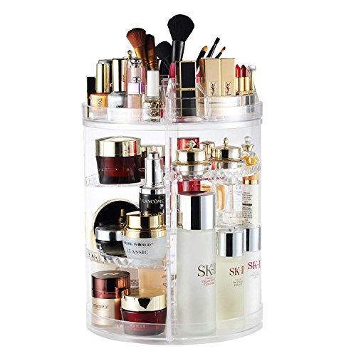 Organizador De Maquillaje, Soporte Giratorio Giratorio De 360   Grados Y Soporte De Exhibición Cosmético, Caja De Almacenamiento De Maquillaje De 8 Capas - Cristalino
