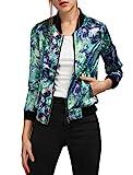 Allegra K Chaqueta Para Señora Collar Del Soporte Cremallera Mangas Largas Estampados De Florales - Verde/XS (US 2), XS (EU 32)
