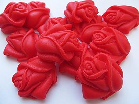 12roses à Rouge ouvertes comestible Sucre gâteau Décorations