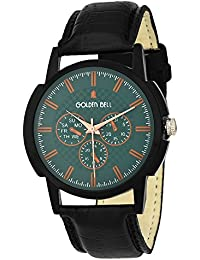 Golden Bell Original Green Dial Black Strap Analog Wrist Watch For Men - GB-886