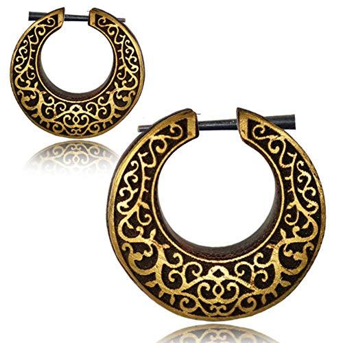 CHICNET Damen Herren Pin Creolen Ohrringe aus Holz und Horn mit Gold bemaltem Muster aus Spiralen und Blättchen
