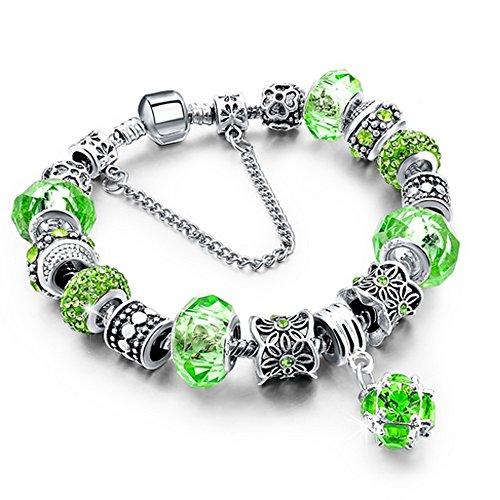 Bracciale donna e ragazza bead chain con bead placcato argento con zirconi - componibile, misura regolabile, compatibile pandora - massima brillantezza, alta qualità (verde)