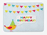 ARTOPB Kids Birthday Bath Mat, Two Row Party Flag Cartoon Bird Happy Birthday Quote Image Artwork Print, Plush Bathroom Decor Mat with Non Slip Backing, 23.6 W X 15.7 W inches, Multicolor