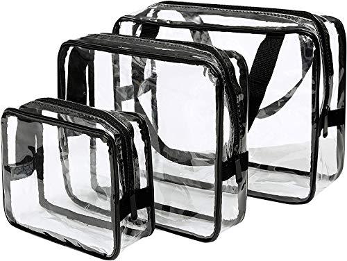 3-in-1Kulturbeutel Transparenter, Make-up-Taschen und Etuis Tasche aus durchsichtigem Kunststoff PVC Durchsichtige Flugzeug Beutel, Kosmetiktasche für Koffer