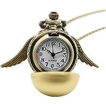 Collasr con colgante reloj operativo y alas de Harry Potter (color dorado)