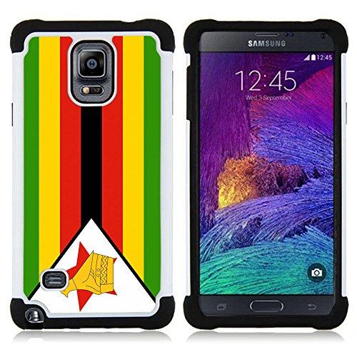 Preisvergleich Produktbild STPlus Simbabwe Simbabwe Flagge Stoßfest Harte + Flexibel Silikon Hülle Tasche Schutzhülle für Samsung Galaxy Note 4