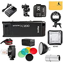 Godox AD200 200Ws 2.4G TTL 1/8000 HSS Inalámbrico Monolight + X1T-N Disparador+ Flash Bulbo Protector Cubierta + Reflector y Color Filtro + 40x40 Softbox Kit para Nikon Camaras(AD200+X1T-N KIT)