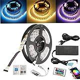 5M luci LED a strisce a due file (RGB + bianco caldo) 600 LED (SMD 5050) Barra luminosa a LED con telecomando Wi-Fi, trasformatore di alimentazione 10A 120W