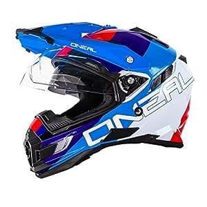 O'Neal Sierra Adventure Helm Edge Weiß Rot Blau Motocross Offroad Enduro MX, 0815-3, Größe Small (55-56 cm)