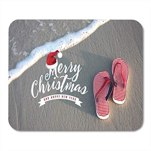 Mauspads Frohe Weihnachten von der tropischen Klima-Flipflop-Strand-Mausunterlage für Notizbücher, Tischrechnermatten Bürozubehöre 10x12 Zoll