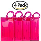 TravelMore Luggage Tags For Suitcases Flexible Silicone Travel ID Labels Set (4 Pack - Red)