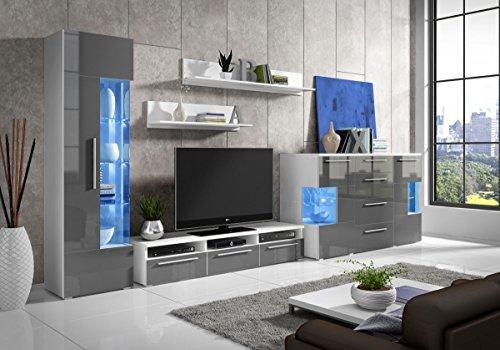 Wohnwand R Grau Hochglanz ✔ Edel ✔Gute Qualität✔ LED Beleuchtung ✔ Modern ✔ Design✔ mit Kommode ✔ Sideboard