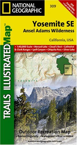 National Geographic TI00000309 Map Of Yosemite SE-Ansel Adams Wilderness - California by Trails Illustrated