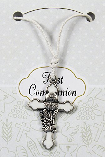 Geschenk zur 1. Kommunion Gold Weiß Kreuz Schnur Charme Halskette Anhänger Mädchen Jungen Kreuz Charme